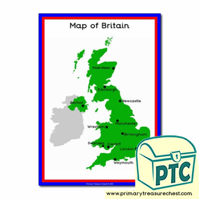 A4 Great Britain Map