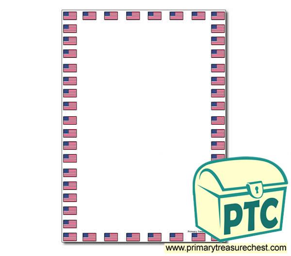 American Flag Page Border Flag Day Resources Us Flag Printables