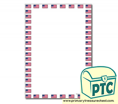 American Flag Page Border/Writing Frame (no lines)