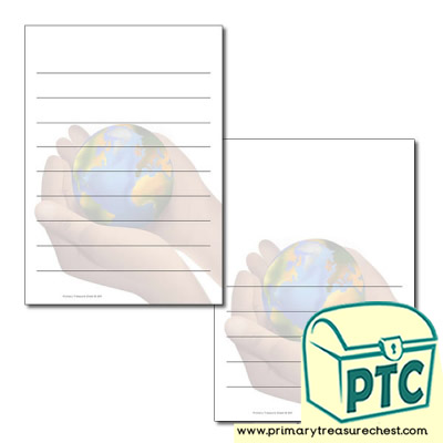 Hand Holding World Page Border/Writing Frame (wide lines)