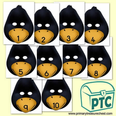 Penguin Role Play Masks Numbered 1-10