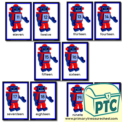 Toy Robot Themed Number Line 11-20