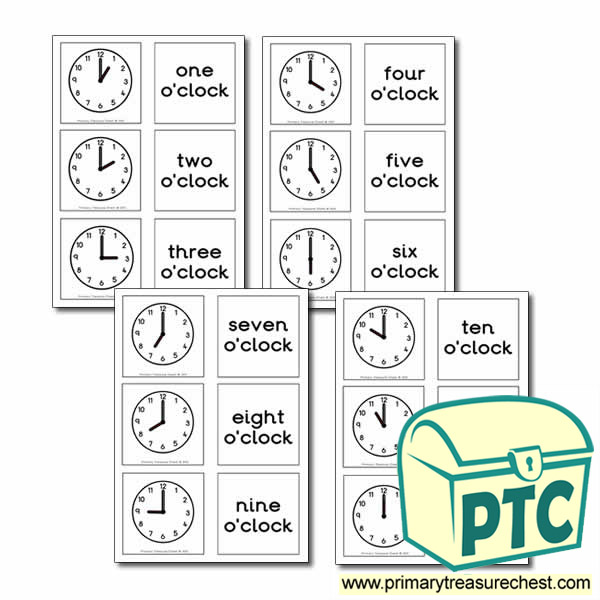 Clock Themed Matching Cards - Tell the Time