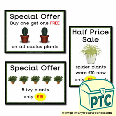 Role Play Garden Centre Plants Special Offers Posters (21p-£99)