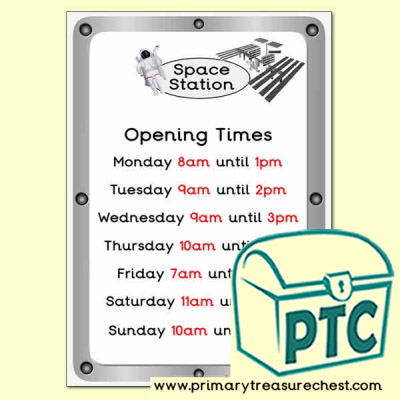 Space Station Role Play Opening Times (O'clock Times)