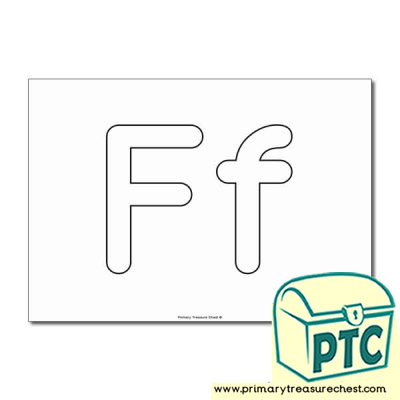'Ff' Upper and Lowercase Bubble Letters A4 Poster - No Images.