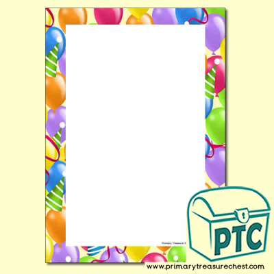 Balloon Themed Writing Frames (No Lines)