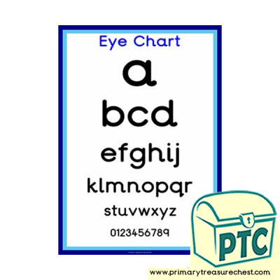 Surgery Role Play Doctors' Surgery Eye Chart Poster