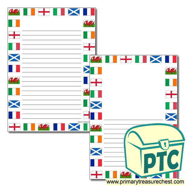 Six Nations Flags Themed Page Border with Narrow Lines