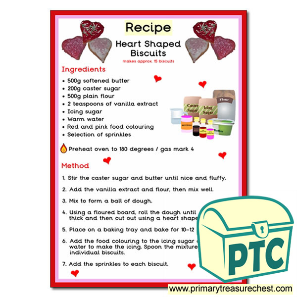 Poster Recipe for Heart Shaped Biscuits