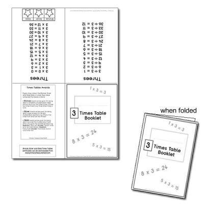 Three Times Table Booklet -  format 2