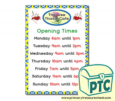 Copy of Scottish Cafe Role Play Opening Times (O'clock)