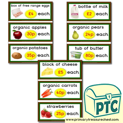Farm Shop Role Play Prices Flashcards (21p to £99)