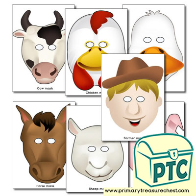 Farm animal role play masks.