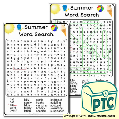 A4 Summer Themed Word Search Worksheet