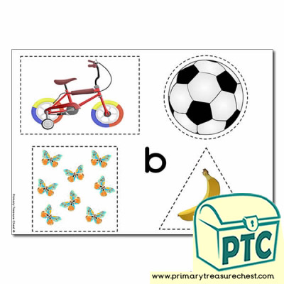 'b' Themed Scissor- Shape- Pre-Writing Activity