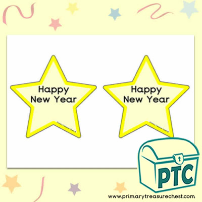 'Happy New Year' Stars Activity Sheet - With Colour