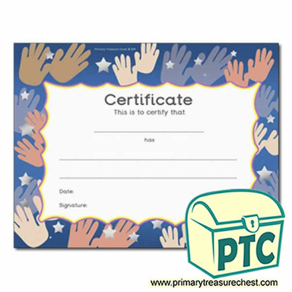 Hands Themed Certificate