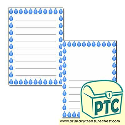 Water Droplet A4 Wide Lined Writing Frame/Themed Border