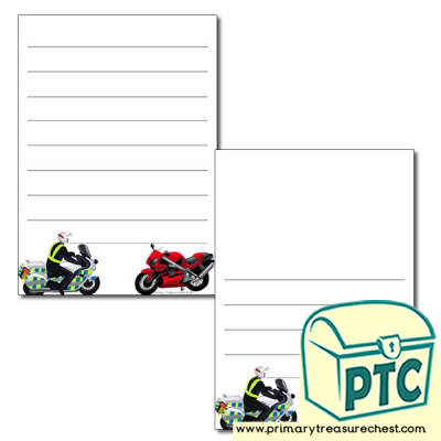 'Motorbike' themed Page Borders/Writing Frames (wide lines)