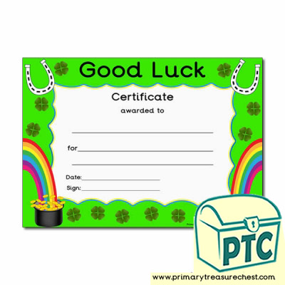 Good Luck Themed Certificate