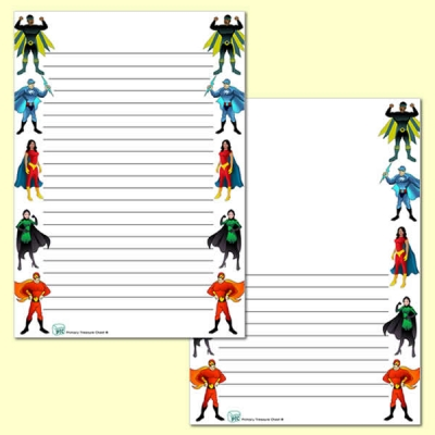 Superhero Themed Page Border/Writing Frame (narrow lines)