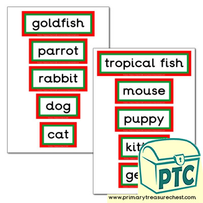 Pet Animals Themed Display Words