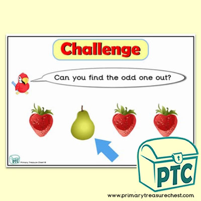 Fruit & Vegetable themed Odd-One-Out Challenge A4 Poster