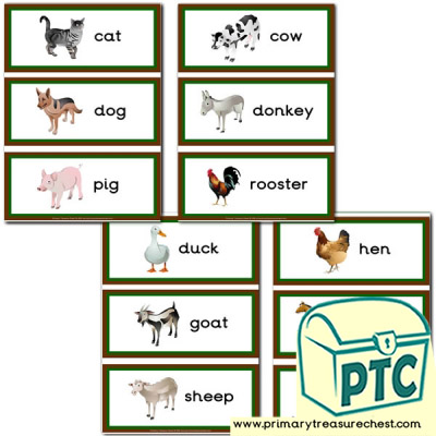 Farm Animals themed Flashcards
