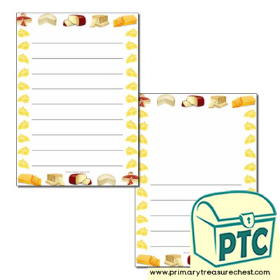 Cheese Themed Page Borders/Writing Frames (wide lines)