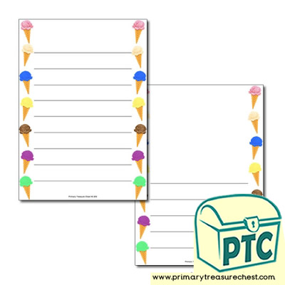 Ice Cream Page Border/Writing Frame (wide lines)