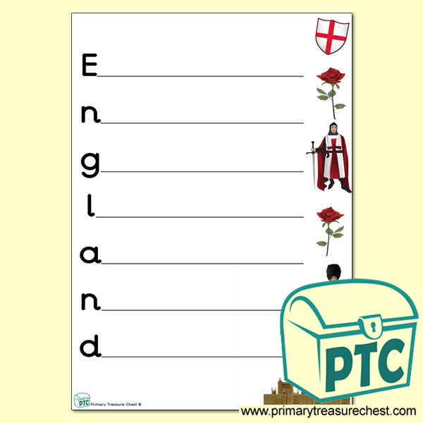 England Acrostic Poem Worksheet