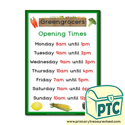 Greengrocers Role Play Opening Times Poster (O'clock)