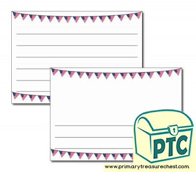 American Flag Bunting Landscape Page Border/Writing Frame (wide lines)