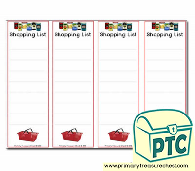 Role Play Campsite Shop Shopping Lists