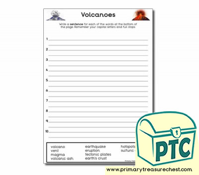 Volcano Themed Sentence Worksheet