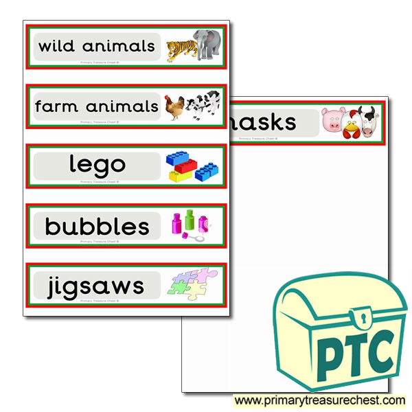 Double mounted effect draw labels with toy images