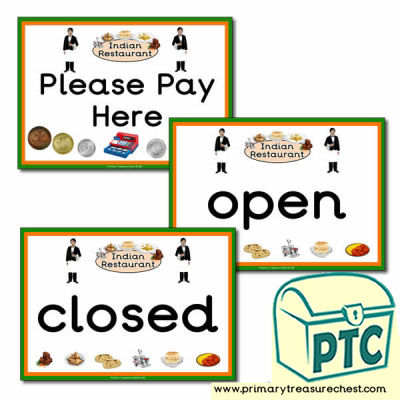 Indian Restaurant Role Play Open/Closed Signs