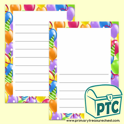 Balloon Themed Writing Frames (Wide Lines)