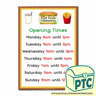 Fast Food Takeaway Role Play Opening Times (O'clock)