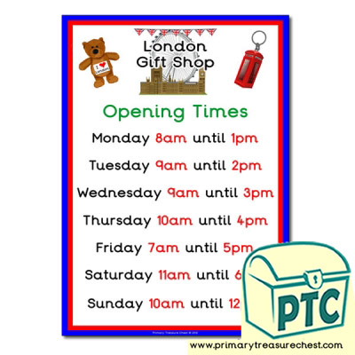 London Gift Shop Opening Times (O'clock)