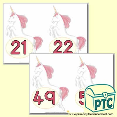 Unicorn Number Line 21-50 (no border) - Serenity the Sweet Dreams Resources