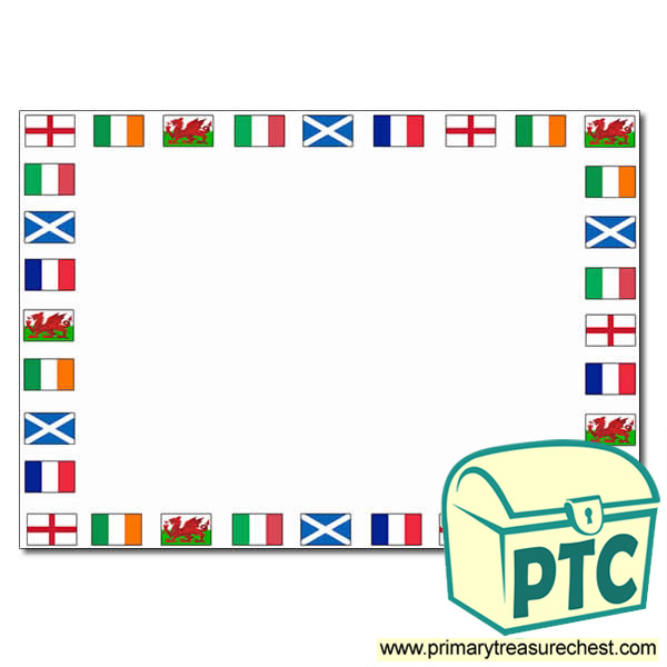 Six Nations Flags Landscape Page Border with No Lines