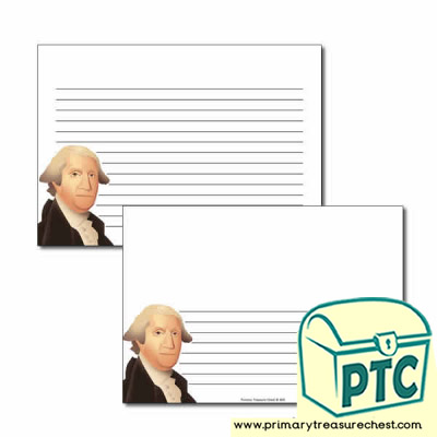 George Washington Themed Landscape Page Border/Writing Frame (narrow lines)