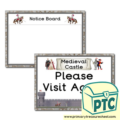 Medieval Castle Role Notice Board / Call Again signs