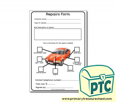 Mechanics Garage Role Play Repair Form Worksheet