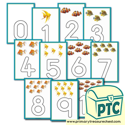 Fish Themed Number Playdough Mats 0 to 10