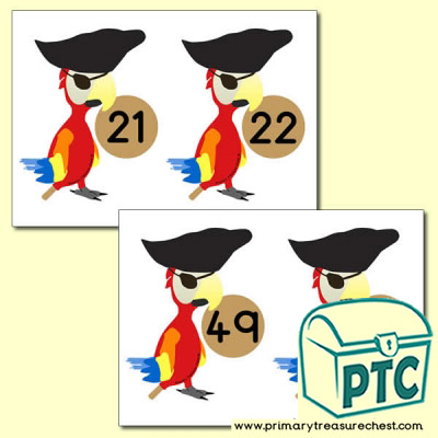 Pirate Parrot Number Line 21-50 (no border)