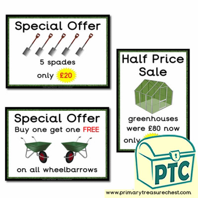 Role Play Garden Centre Equipment Special Offers Posters (21p-£99)