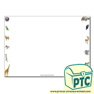 African Animals Themed Landscape Page Border/Writing Frame (no lines)